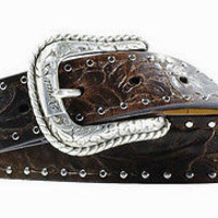 Ariat Women's Western Embossed Brown Leather Belt