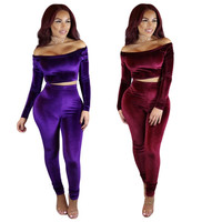 New Coming Autumn Winter Style Fashion Women Bodycon Suits Two Pieces Sexy Slash Neck Short Tops Casual Ladies Skinny Pants Sets