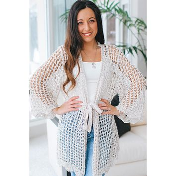 Open Hole Knit Tie Cardigan