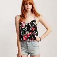 Floral Tiered Swing Crop Tank