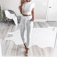 High Waist Harem Pants with Tie for Women
