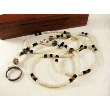 Ivory Cream ID Leash Badge Holder with Chocolate Brown Water Stain Beads, Handcrafted Beaded Eyeglass Lanyard, Brown and Beige Accessories, Handmade Badge Holder Name Tag Lanyard