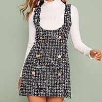 Multicolor Double Button Tweed Overall Short Dress Women Slim Fitted Plaid Sleeveless Pinafore Preppy Cute Dresses