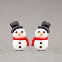 Snowman Earrings - Christmas Studs, Holiday Jewelry, Winter Accessories