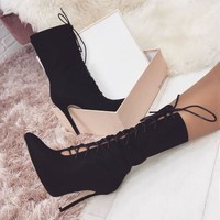 Strappy Pointed Toe Women Fashion Half Boots High Heels Shoes