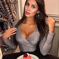 InstaHot Mint Green Deep V Neck Bling Bodysuits Women Elastic Sexy Silver Long Sleeve Tops Fashion Female Autumn Winter Playsuit