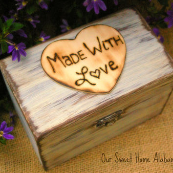 Sale Rustic Recipe Box Paint and Distressed in the COLOR of YOUR CHOICE Holds 4 x 6 Cards