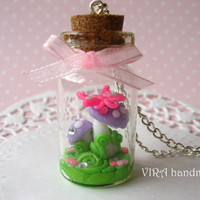 Cute fairy kei glass bottle mushrooms with butterfly terrarium necklace