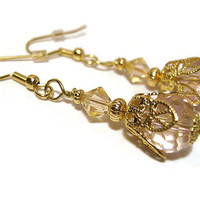 Peach and Pink Drop Dangle Earrings Gold Plated Filigree Vintage Style Formal Jewelry Womens Bling Made with Swarovski Bicones Pastel Summer