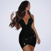 Solid Color Fashion Bodycon Deep V Sleeveless Strap PU Leather Mini Dress