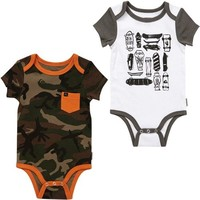 Quiksilver Play Pen Infant 2-Pack Creeper - White/Camo