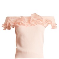 Ruffle-trim off-the-shoulder top | Alexander McQueen | MATCHESFASHION.COM US