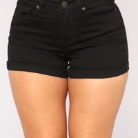 No More Trouble High Rise Shorts - Black