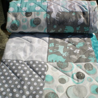 Modern Baby quilt,grey,teal,aqua,Patchwork crib quilt,baby boy bedding,baby girl quilt,woodland,rustic,chevron,modern,deer,bear,baby quilt