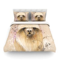 "Geordanna Cordero-Fields ""Llama Me"" Tan Cotton Duvet Cover"