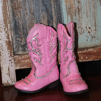 Girl's blinged pink cowgirl boots, size toddler 5, cherokee brand.  pink boots, cowgirl, bling, swarovski crystals
