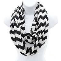 Chevron Infinity Monogrammed Scarf Black and White