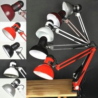 Free Shipping 100% Good Quality Assurance Iron American Table Lamp Foldable Long-Arm Book Reading Lights E27 Clip Desk Lamp