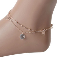 Fashion Girl Ladies Rose Flower Bead Ankle Anklet Bracelet Foot Double Layer Chain 1PC (With Thanksgiving&Christmas Gift Box)= 1645781956