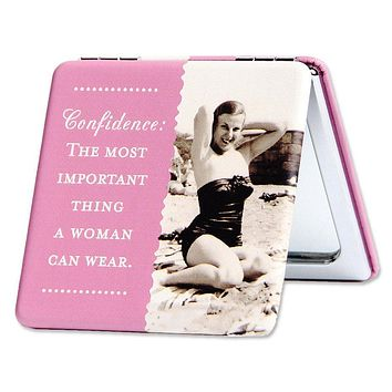 Confidence: The Most Important Thing A Woman Can Wear Compact Mirror in Pink