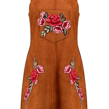 Boutique Crisa Embroidered Suede Pinafore Dress
