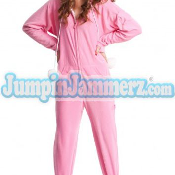 Pink Bunnylicious Drop Seat Adult Pajamas - Hooded footed, adult, onsies, drop seat