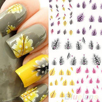 1 Sheet Feather 3D Nail Art Water Decal Sticker Fashion Tips Decoration New BA4A