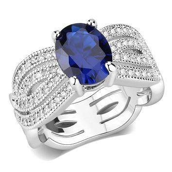 Right Hand Ring 3W1564 Rhodium Brass Ring with Synthetic in London Blue