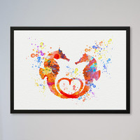 Seahorses Love Watercolor Print Valentine's Day Gift Wedding Poster Gift Illustration Art Watercolor Sea-Horse In Love