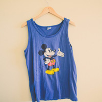 Vintage 90's Mickey Blue Mouse Tank Top Oversized Jumper Summer Disney Character Fashions Unisex Large