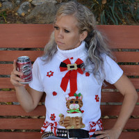 Ugly Christmas Sweater, woman, Medium, Party Sweater, sexy, cat lady, short sleeve, turtleneck