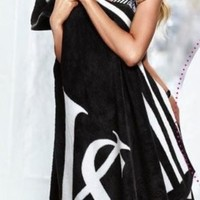 Victoria's Secret Stadium Blanket - Black with White Stripes / Pink Border - 2013 Limited Edition