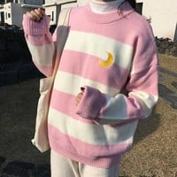 Women's Sweaters Kawaii Ulzzang College Candy Color Stripes Moon Sets Embroidery Sweater Female Harajuku Clothing For Women