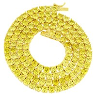 3MM 18 Inch Canary Lab Diamond Chain Tennis Necklace