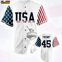 Uncle GG 45 Donald Trump USA Flag Baseball Jersey Commemorative Edition Stitched Sewn White Retro Sport Baseball Jersey