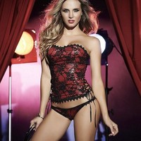 Red and Black Bustier Set