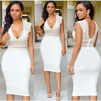 Plunging Sleeveless Lace Bodycon Midi Dress