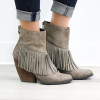 VERY VOLATILE Maple Valley Classic Taupe Fringe Wedge Booties