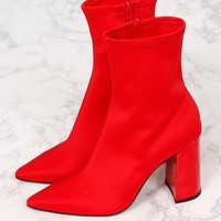 JEFFREY CAMPBELL | Siren Sock Bootie - Red