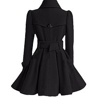 DOUBLE-BREASTED WOMENS BELTED PEACOATS