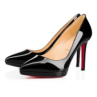 Christian Louboutin Cl Pigalle Plato Black Patent Leather 100mm Stiletto Heel 16w