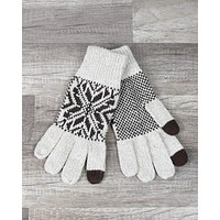 Winter Gloves in Ivory/Brown