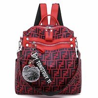 Fendi tide brand female models wild casual large capacity backpack Red