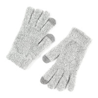 Soft Light Gray Boucle Touch Screen Gloves