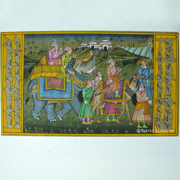 Rajasthani Mughal Procession Miniature Painting Indian Wall Decor Art
