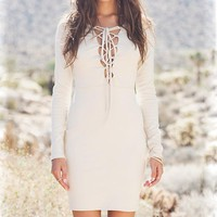 Lace Up Long Sleeve Dress
