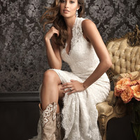 Spanish Lace Wedding Dresses Country Western Vestidos De Novia Sexy Bridal Gowns V Neck Low Designs with Long Train White &Ivory