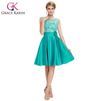 Grace Karin Cute Short Bridesmaid Dresses Knee Length Satin Lace A-line Charming Green Purple Blue Bridesmaid Gown CL6116