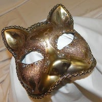 Gold and Bronze Kitty Cat Mask