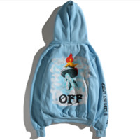 OFF-white statue of liberty torch monogrammed hat cap and velvet hoodie coat
